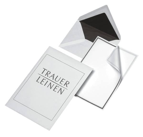 ELEPA Briefmappen 5/5 Leinen weiß 30002342 Trauer unliniert