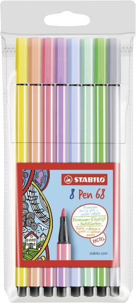 Fasermaler Pen 68 Pastell Etui, 8 Farben