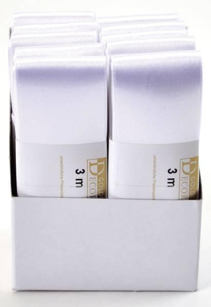 Doppelsatinband 40 mm x 3 m, weiß