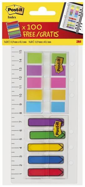 Haftmarker Index Mini 11,9 x 43,2 mm, div Farben, 2 x 5x20 Haftstreifen, 1 Lineal