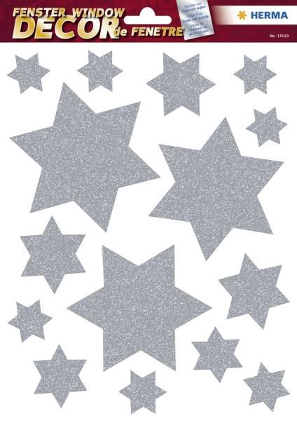 HERMA Weihn. Fensterbild Sterne silber 18 St. 15110