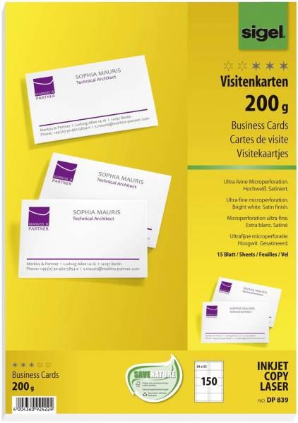 SIGEL Visitenkarte hochweiß 150 Karten perf. DP839 Format 85x55mm 200g