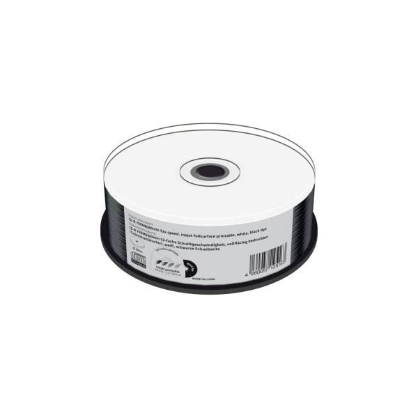 CD R 700MB, 80min 52 fache Schreibgeschwindigkeit, vollflächig bedruckbar (Tintenstrahldrucker), sch