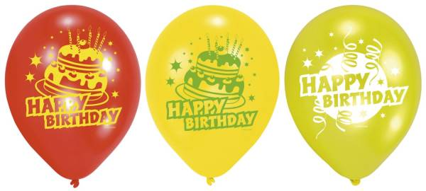 Luftballon rund, sortiert, 6 Stück