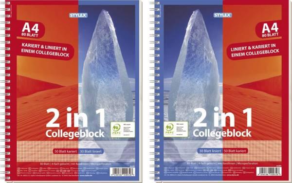 Collegeblock A4, Duo kariert+ liniert