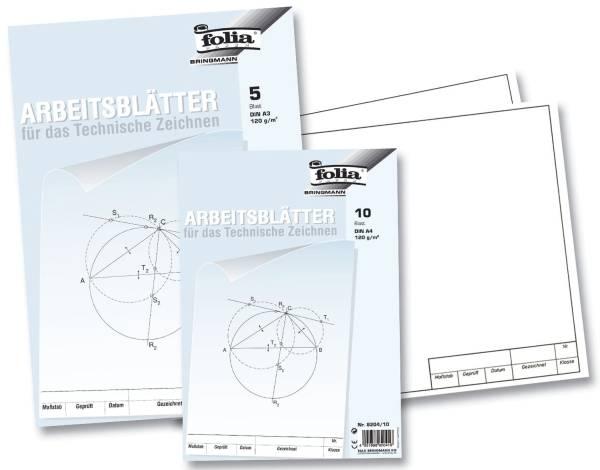 Arbeitsblätter für technisches Zeichnen 120g qm, weiß, DIN A3, 5 Blatt