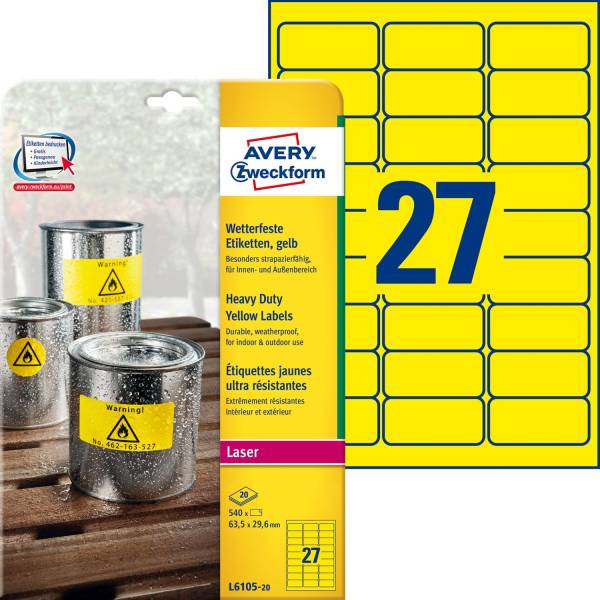 AVERY ZWECKFORM Universaletikett 63,5x29,6 gel L6105-20