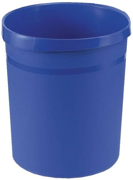 Papierkorb GRIP, 18 Liter, rund, 2 Griffmulden, extra stabil, blau