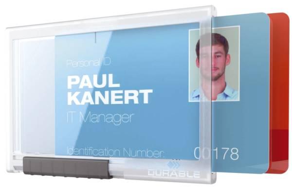 Ausweishülle Pushbox DUO Kunststoff, transparent, 10 Stück