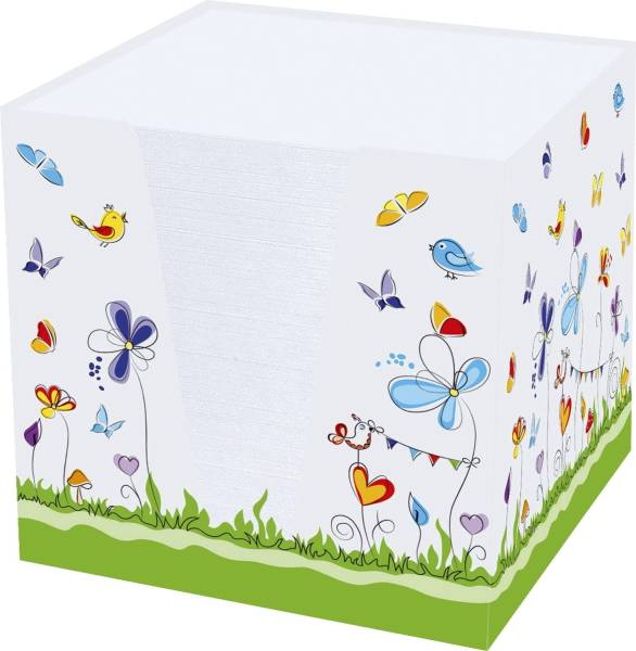 """Notizklotz """"Schmetterlinge"""" 900 Blatt, 70 g qm, weiß, 95 x 95 x 95 mm"""