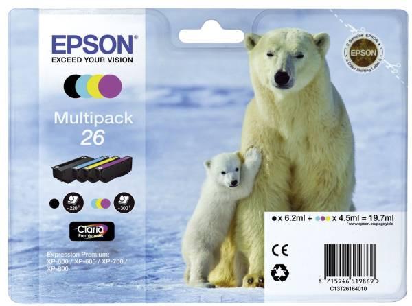 EPSON Inkjetpatrone Nr. 26 sw,c,m,y C13T26164010 Multipack