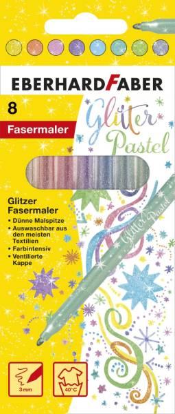 EBERHARD FABER Fasermaler 8ST Glitter Pastell sortiert 551009