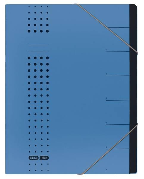 Ordnungsmappe chic 7 Fächer, A4, Karton (RC), 450 g qm, blau