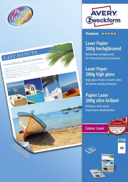 2798 Premium Colour Laser Papier, DIN A4, beidseitig beschichtet hochglänzend, 200 g qm, 100 Blatt