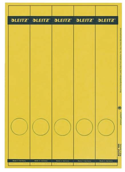 1688 PC beschriftbare Rückenschilder Papier, lang schmal, 125 Stück, gelb