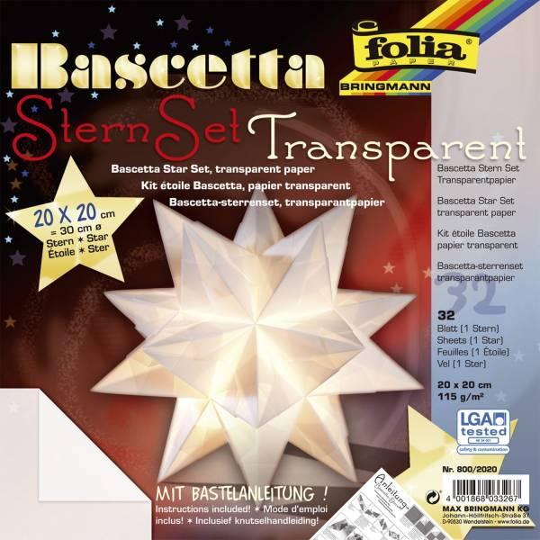 Bascetta Stern weiß, transparent, Ø 30 cm