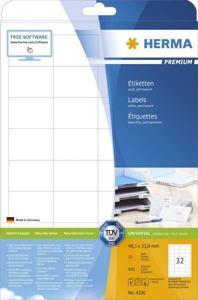 HERMA Etiketten Premium 48,3x33,8mm weiß 4200 SuperPrint 800 St permanent