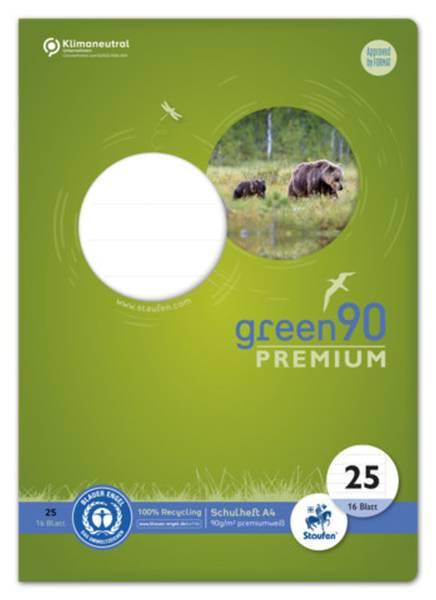 STAUFEN GREEN Heft LIN25 A4 16 Blatt 9mm liniert 040782025 mit Rand 90g