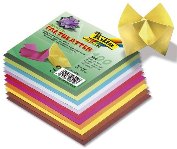 Faltblätter 15 x 15 cm 10 Farben sortiert, 100 Blatt, 70g qm