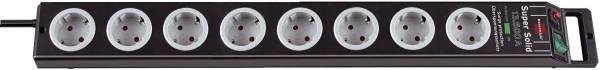 Super Solid Überspannungsschutz Steckdosenleiste 8 fach schwarz lichtgrau