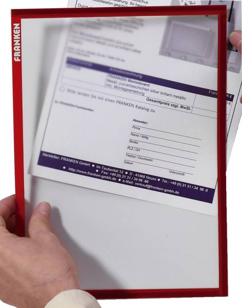 X tra!Line Dokumentenhülle Frame It A4, Hartfolie, matt, rot, 5 Stück®