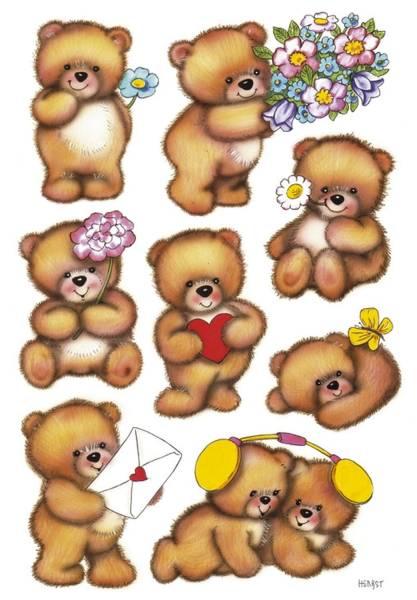 3578 Sticker DECOR Bären mit Blumen