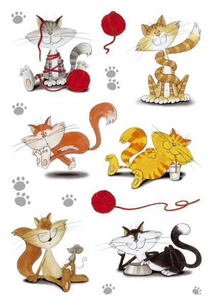 3357 Sticker DECOR Lustige Katzen, beglimmert