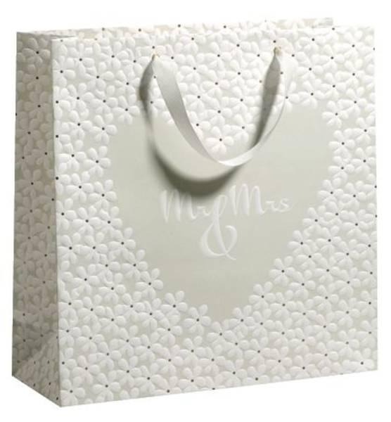 ZÖWIE Geschenktragetasche Hochzeit creme 70010 12607 33x33x12cm