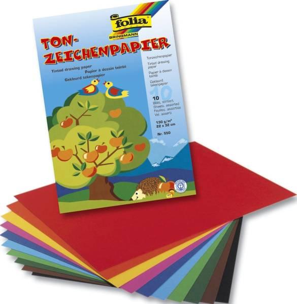 FOLIA Tonpapier Mappe 10 Farben sort 550 22x32cm 130g 10BL