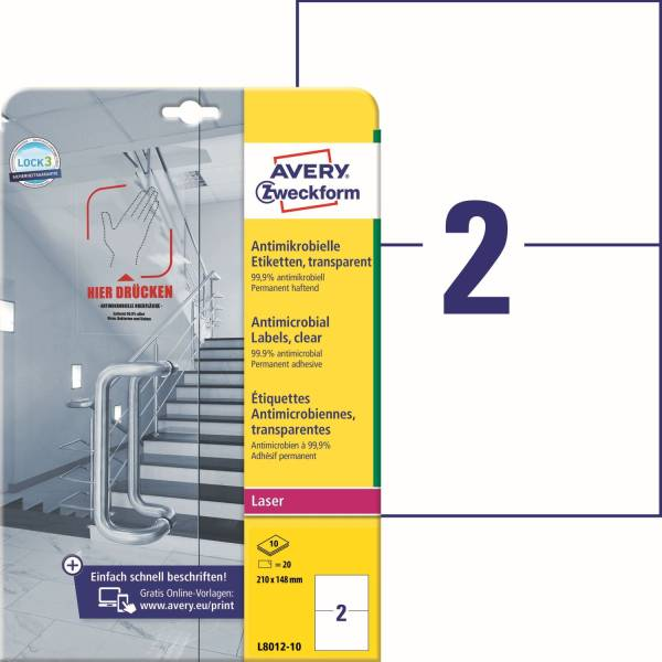AVERY ZWECKFORM Folienetiketten 210x148 mm transparent L8012-10 antimikrobiell