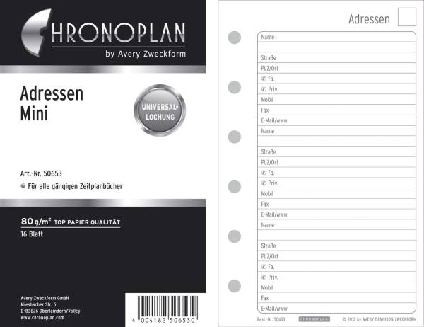 CHRONOPLAN Ersatzadressblätter Mini 16BL 79x125mm 50653