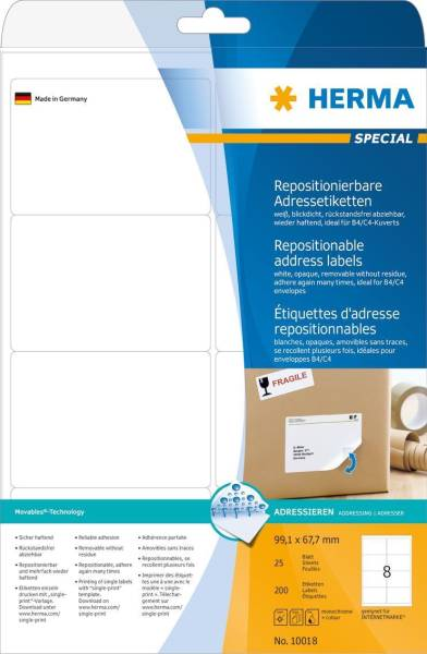 HERMA Super-Print Etiketten Movables 10018 99.1x67.7mm BB