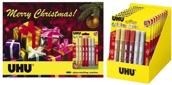 UHU Glitterglue 10ml 6ST 3-fach sortiert 36210 X-Mas-Promotion