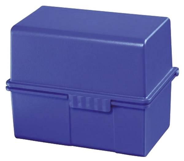 Karteibox DIN A8 quer für 200 Karten mit Stahlscharnier, blau