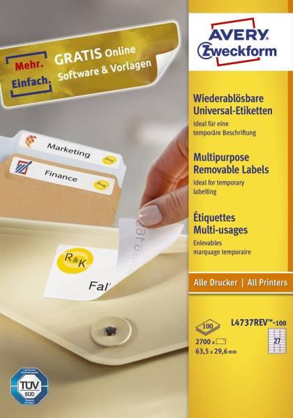L4737REV 100 Universal Etiketten 63,5 x 29,6 mm, weiß, 2 700 Etiketten 100 Blatt, wiederablösbar