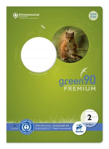 STAUFEN GREEN Heft LIN2 A5 16 Blatt 4/4/4mm liniert 040780002 90g