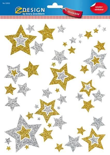 52952 Fensterbilder Sterne 6 Stück, gold silber