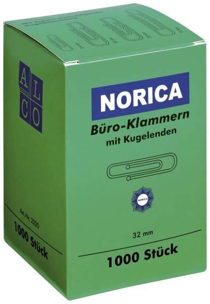 Büroklammern mit Kugelenden 32 mm glatt, verzinkt, 1 000 Stück