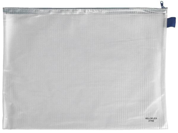 Reißverschlusstaschen transparent blau, A3, 445 x 320 mm