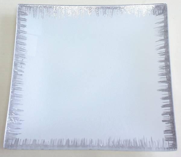 Glasteller weiß- silber QL7182-2 20x20cm