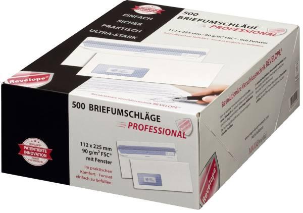 Briefumschlag Revelope 112 x 225 mm, m Fenster, weiß, 90 g qm, Innendruck, Revelope Klebung, 500 Stü