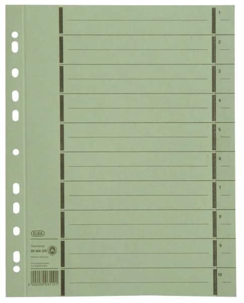 Trennblätter mit Perforation A4 Überbreite, grün, 100 Stück