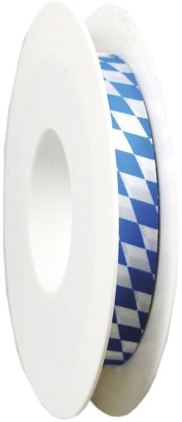 Zier Acetatband 15 mm x 25 m, Raute, weiß blau