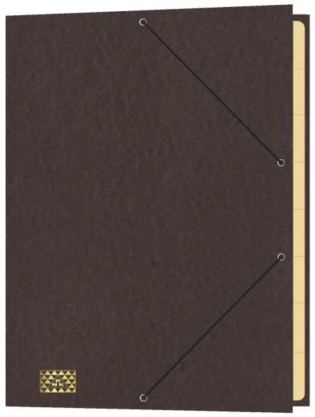 Konferenz und Ordnungsmappe mit Gummizug, für DIN A4, 9 Fächer, braun