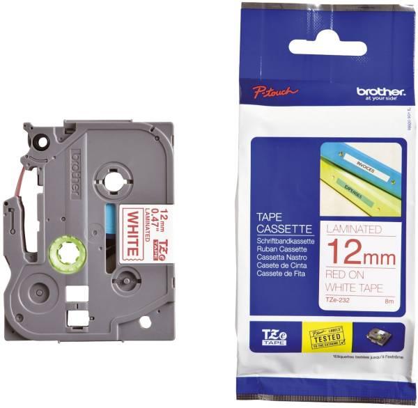 TZe 232 Schriftbandkassette laminiert, 12 mm x 8 m, rot auf weiß