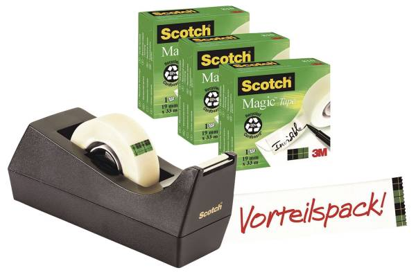 Tischabroller inkl 3 Rollen Magic(TM)Tape 810, schwarz