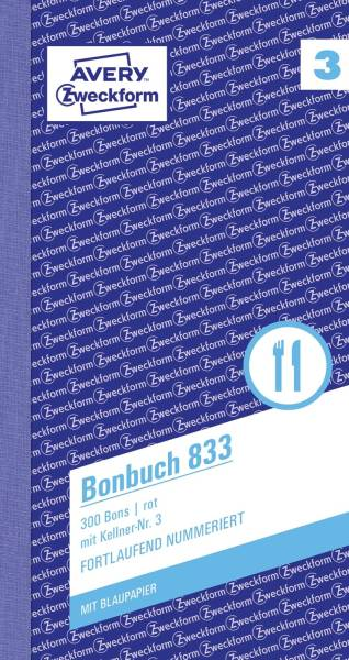 833 Bonbuch, Kompaktblock, mit Kellner Nr , 2 x 50 Blatt, pink