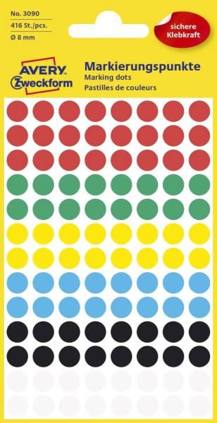 3090 Markierungspunkte Ø 8 mm, 4 Blatt 416 Etiketten, farbig sortiert