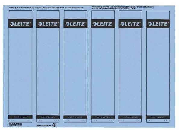 1686 PC beschriftbare Rückenschilder Papier, kurz schmal, 150 Stück, blau