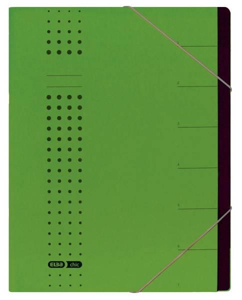 Ordnungsmappe chic, Karton (RC), 450 g qm, A4, 7 Fächer, grün